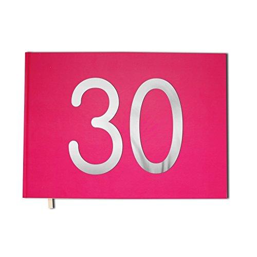 Livre d'or rose - 30 ans - Anniversaire, souvenirs - Paysage - Couverture mate, lettres chromées -100 pages - Qualité premium