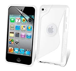 White S-Line Gel Skin Case Cover For Apple IPod Touch 4/4th Generation With Free Screen Protector & Polishing Cloth By Connect Zone®