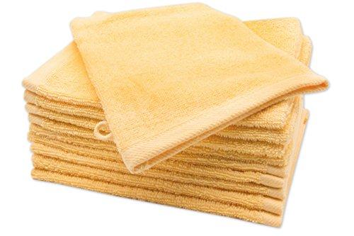 Zollner 10er Set Waschlappen Waschhandschuh aus Baumwolle, Sonne (weitere verfügbar), ca. 16x21 cm