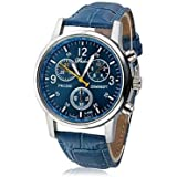 Blue Fashion PU Synthetic Leather watch for Kids, Boys and Men, Analog