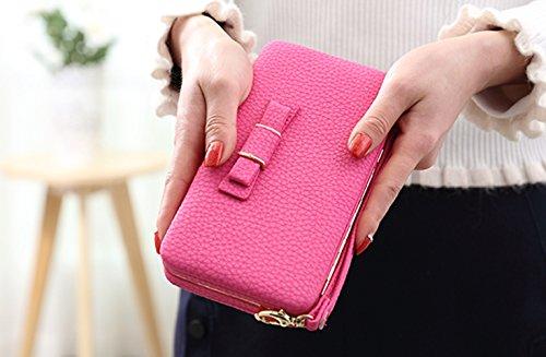 Katech Portafogli delle signore Borsa grande capacità di del moda multifunzione Wristlet Custodia Telefono caso per iPhone 7/6 / 6s, Samsung Galaxy S6 / S6 Edge o altri telefoni cellulari Mei red