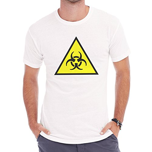 Danger Sign Warning Caution Cartoon Atomic Herren T-Shirt Weiß