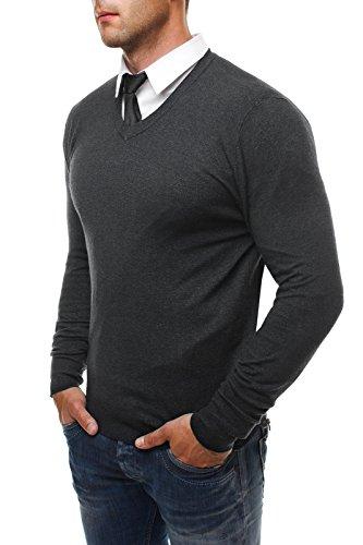 OZONEE Herren Pullover Longsleeve Sweatshirt Shirt Langarmshirt LP6002 Dunkelgrau_NM8002