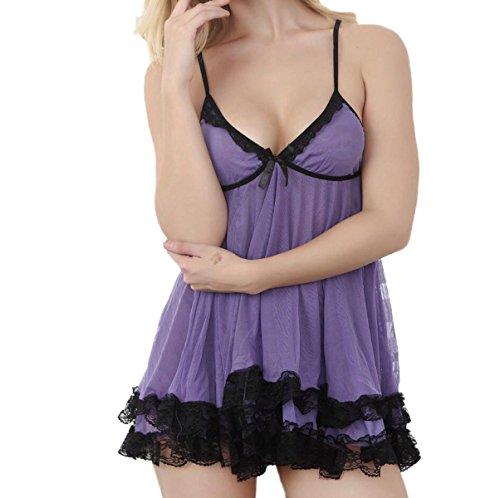 Ladies Pigiama Sexy Lingerie Sexy Camicia Da Notte A Doppio Strato Di Garza Swing Divertimento Femminile Prendisole Regali Di Natale Purple