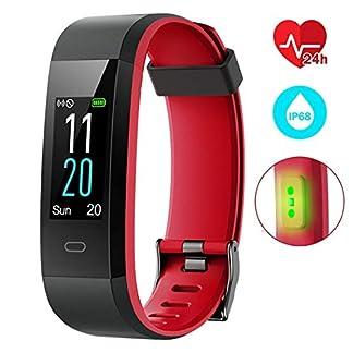 Pulsera Actividad Inteligente Impermeable IP68 Pantalla 0.96» a Color con 14 Modalidades con Monitor de Calorías Sueño Cardíaco y Podómetro Fitness GPS 12-15 días Captura de Cámara para iOS y Android