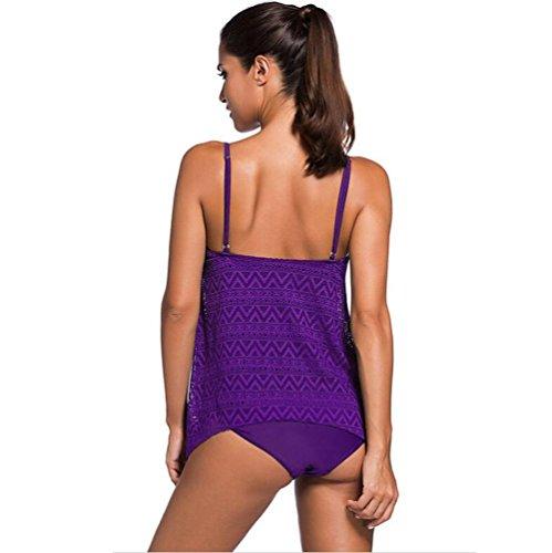 PU&PU Frauen Plus Size Beach Straps Halter Bikinis Zwei Stücke Set Badeanzug Low Rise Wireless Gepolsterte BH Purple