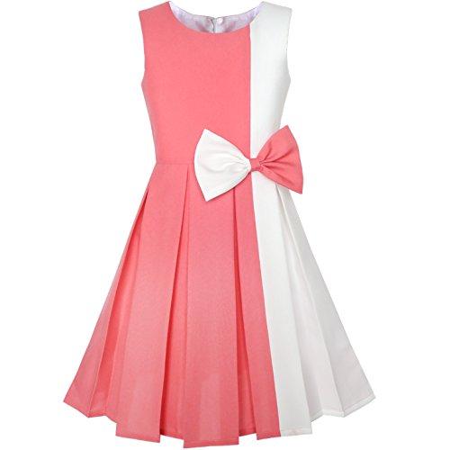Sunboree Mädchen Kleid Farbe Blockieren Kontrast Bogen Binden Coral Weiß Gr. 146