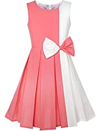 7c079a573 Sunny Fashion Girls Dress Color Block Contrast Bow Tie Everyday Party Age  4-14 Years
