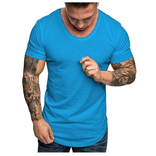 Tops Herren Sommer Shirts Basics Baumwolle Tank Tops Fitness Running Polo Bluse Strand Hemden Herbst 2019 Neu Qmber Slim Fit Kurzärmeliges einfarbiges T-Shirt mit Rundhalsausschnitt/SB,M -