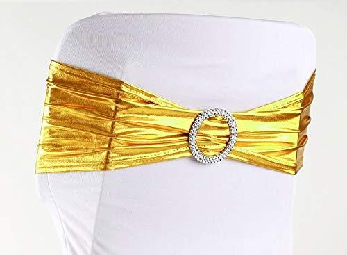 eventkauf Stuhlschleife Stretch Schleifenbänder Schleifen für Stuhlhussen (Metallic Gold) -