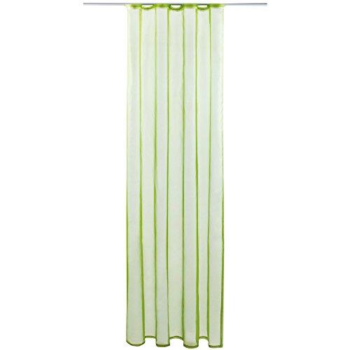 Gardine mit Kräuselband, Transparent Voile 140x175 cm (Breite x Länge) in Grün - Olivgrün, Viele Weitere Farben und Größen