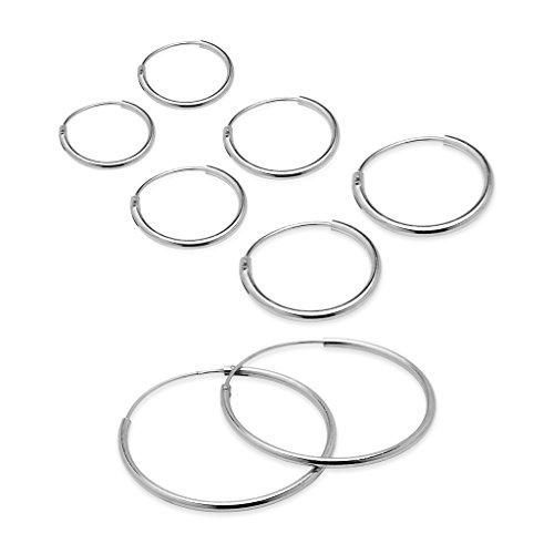 925-sterling-silver-four-coppia-set-di-10-12-14-24-mm-sleeper-round-thin-endless-orecchini-a-cerchio