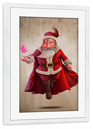 Rahmen Weiß 30x20 cm Santa Claus Super Hero von GiordanoAita - gerahmtes Poster ()