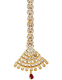 Voylla Traditional Brass With Yellow Gold Plated Cubic Zirconia Maang Tika For Women