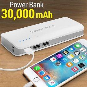 CARICABATTERIA ESTERNA POWER BANK 30000 mAh PORTATILE PER PC, TABLET, SMARTPHONE, FOTOCAMERE, PORTATILI Ecc. CON 3 PORTE USB 2,1A