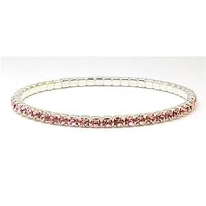Silvertone Swarovski Crystal Elements Pink Stretch Bracelet