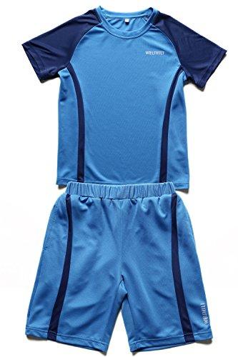 WEISHILI 2-teiliges Set aus Trikot und Hose - Kinder - Blau (Fußballtrikot und Hose)