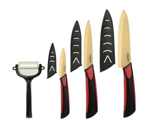 Dailycious ®, Lot de 4 pièces Céramique TITANIUM lame Gold// Manche Bi-Color ABS Noir/Silicone Rouge //1 Couteau chef 15cm +1 Couteau universelle 12,5cm + 1 Couteau office 7,5cm + 1 éplucheur + fourreaux de protection