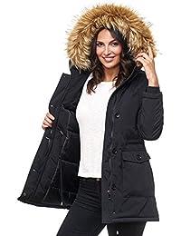 Elara Damen Winterparka   Jacke mit Kunstfell Vegan Kunst Fell Kapuze    Designer Damenjacke   130160ee5a