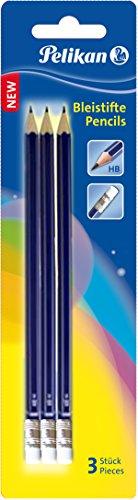Pelikan Bleistift, Härtegrad HB mit Radierer, Blister und 3 Stück