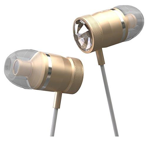 Innomark Kopfhörer, in Ears Made with Swarovski Crystals, Starker Bass, mit Mikrofon, kabelgebunden, für Smartphones und MP3-Player, Golden