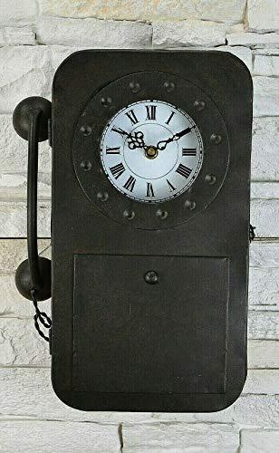 Livitat® Schlüsselkasten Schlüsselschrank 35 cm hoch Metall Retro Vintage mit Uhr und Telefon LV5066 (Rost)