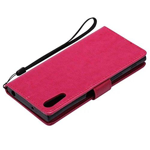 Sony XZ Case, Embossing gepresste Blumen Katze und Baum Muster Solid Color PU-Leder Tasche weichen Silikon-Cover Flip-Stand Geldbörse mit Lanyard für Sony XZ ( Color : 8 , Size : Sony XZ ) 3