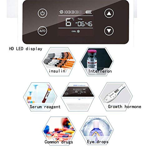 41OptTPTR5L - Kievy Caja Refrigerada De Insulina Portátil De Gran Capacidad, Pantalla LCD Recargable 0-18 °C Coche Interferón Refrigerador Médico Mini Refrigerador Refrigerador, Camping