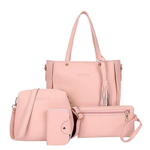 tandou 4pcs Mujeres Mujer Fashion–Bolso Hombro Tote Dinero Bolsa clásico schultasche Juego rosa