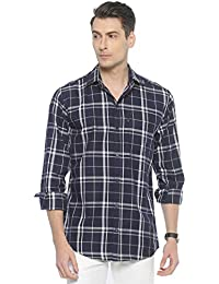 LEVIZO Men's Checkered 100% Cotton Casual Classic fit Full Sleeves Shirt for Men