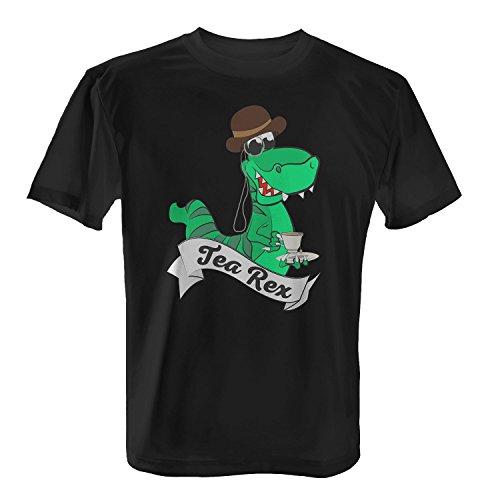 Tea Rex - Herren T-Shirt von Fashionalarm | lustiges Fun & Spaß Shirt | Ideal für Tee Trinker & Fans von T-Rex Saurier Dinosaurier Wortwitz Schwarz