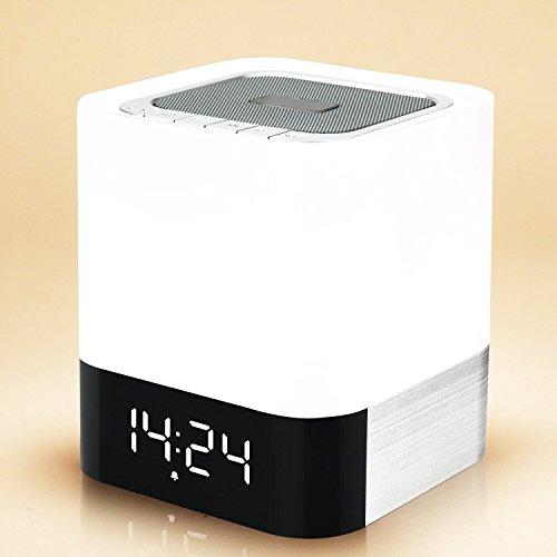 Lichtwecker Bluetooth Lautsprecher Earto Wireless Speaker mit 3 Licht Modus Berührungsempfindliche Steuerung/TF Karte/USB/Freisprecheinrichtung/Wecker geeignet für Familie Büro Unterwegs Auto