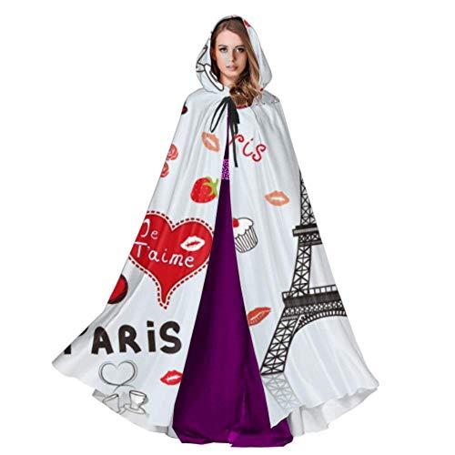 VNASKL Paris City Liebesmäntel Für Erwachsene Mantel Erwachsene 59 Zoll Für Weihnachten Halloween Cosplay (Halloween City Kostüm Für Erwachsene)