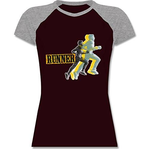 Laufsport - Runner - zweifarbiges Baseballshirt / Raglan T-Shirt für Damen Burgundrot/Grau meliert