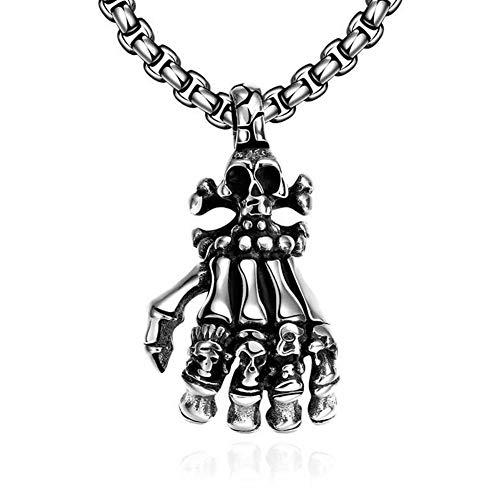 YABEME Art und Weise Schädel Skelett Hand Form Edelstahl Anhänger Tribal Herren Halskette, 24 Zoll Kette