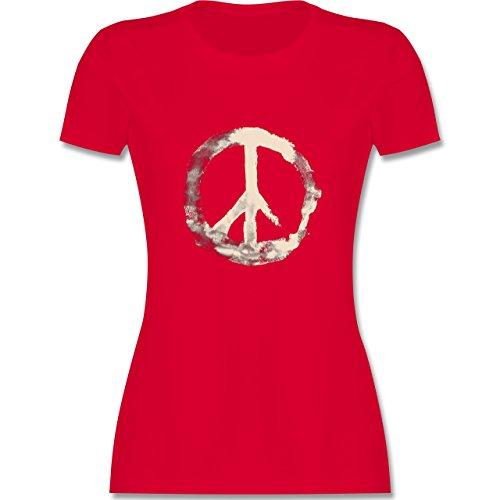 Statement Shirts - Frieden - Peacesymbol weiss - tailliertes Premium T-Shirt mit Rundhalsausschnitt für Damen Rot