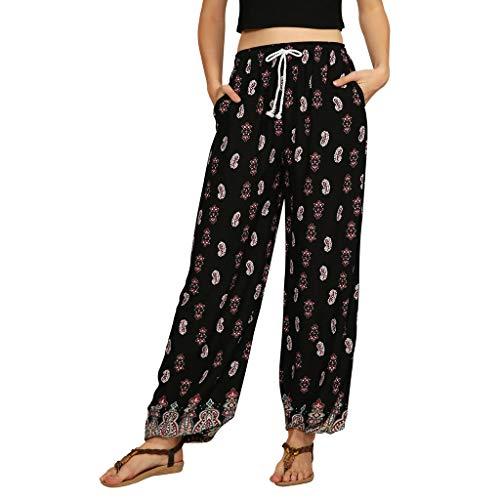 Dasongff Damen Hippie Haremshose Capri Thai Hose Leichte mit Taschen Dünn Boho Ethno Blumenmuster Muster Strand Sommerhose Yogahose Palazzohose Band-capri-leggings