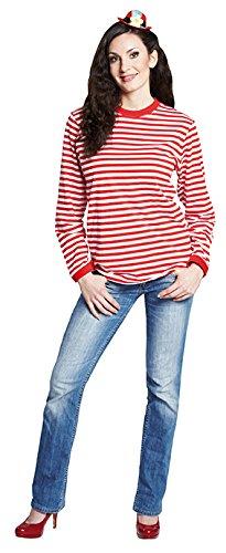 Ringelshirt langarm rot-weiß gestreift Unisex Pullover Oberteil Shirt Karneval ()