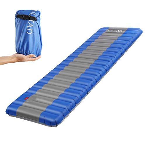 OUTAD Esterilla Inflable, Colchón de Aire Cama al Aire Libre para Cámping Portátil Ultraligero con solo Grosor 12 cm para Viajes/ Exterior/ Senderismo/ Playa(Azul)