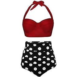 Angerella - Mujer retro polka punto cintura alta