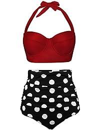 EasyMy Femmes Vintage Polka Dot Taille Haute Maillot de Bain Bikini