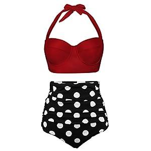 Angerella Damen Retro Stil Polka-Punkt mit Hoher Taille Badeanzug Bikini Set, Rot-1, EU48-50Tag Size 5XL