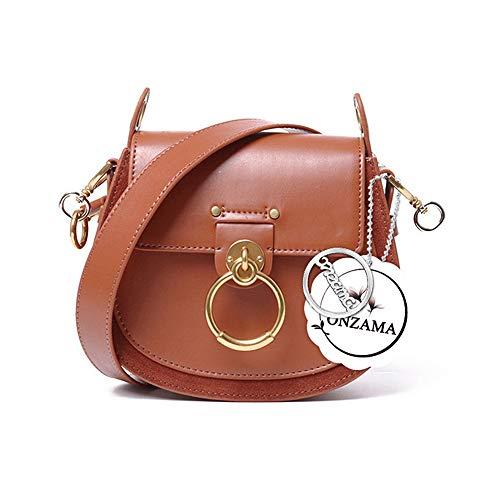 Onzama Damen Designer Schulter Sattel Geldbörsen Armband Crossbody Taschen Kuh Leder Ring Satchel -