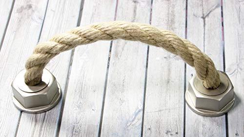 LGM-Beschlag Möbelgriff Rope, Landhaus, Vintage, Seil, Kunststoff metallisiert - Warmgrau, 165 mm x 50 mm x 37 mm, LA 128 mm, 51532
