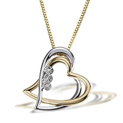 Goldmaid Damen-Halskette Bicolor Gold 2 Herzen 3 Diamanten 0,03 Karat Herzanhänger Diamantkette - Drei-karat-diamant