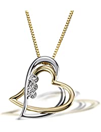 Goldmaid Damen-Halskette Bicolor Gold 2 Herzen 3 Diamanten 0,03 Karat