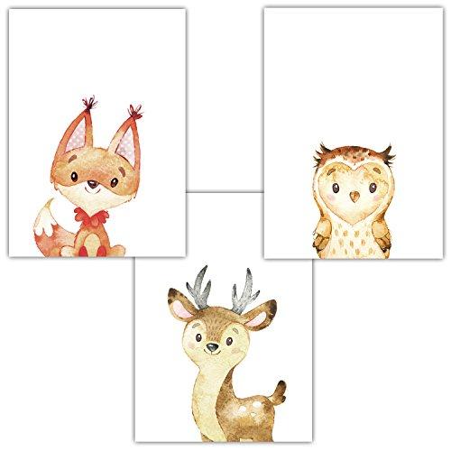 Frechdax 3er Set Kinderzimmer Babyzimmer Poster Bilder Din A4 | Waldtiere Portrait | Bär Fuchs REH Eule | Mädchen Junge Deko | Dekoration Kinderzimmer (3er Set Fuchs, Eule, REH)