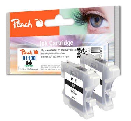 Peach B1100 bk Doppelpack Druckerpatronen, remanufactured, kompatibel zu Brother LC-1100, schwarz