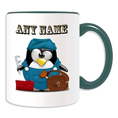Personalisiertes Geschenk–Klempner Tasse (Design Pinguin in Kostüm Thema, Farbe Optionen)–alle Nachricht/Name auf Ihre einzigartige–Darüber Ablauf Heizung Service, keramik, grün
