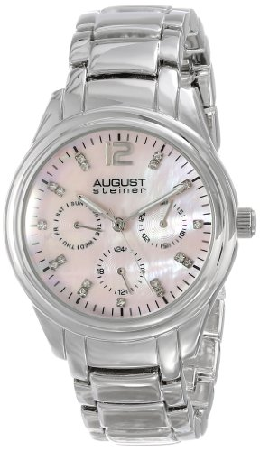 August Steiner Women's AS8076PK Quartz Multifunction Crystal Pink Mother-of-Pearl Silver-Tone Bracelet Watch